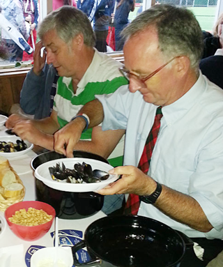 Donald and Ian Dunbar tuck in to the mussels